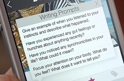 Intuition Journal app features writing prompts
